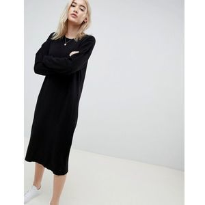 New ASOS Black Crew Neck Sweater Dress Midi Length